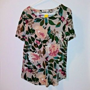 Yoko Girl Anthropologie top foliage flower print